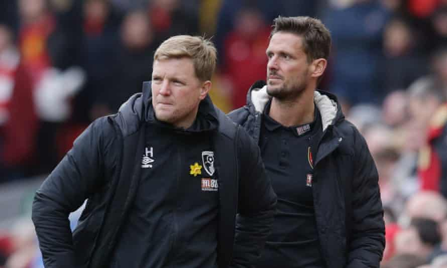 Eddie Howe and his assisant Jason Tindall (right) are among those to have taken pay cuts, Bournemouth said.