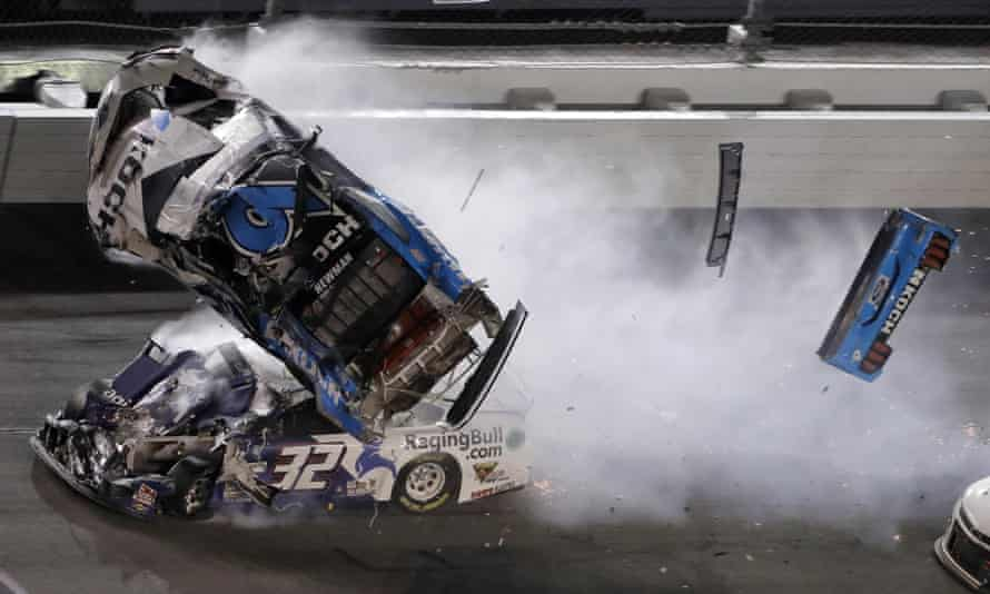 Ryan Newman (6) goes airborne after crashing with Corey LaJoie (32)