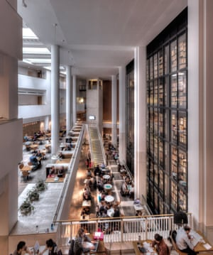 The cafe of the British Library with the King's Library to the right.