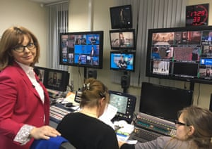Fekla Tolstoya, pictured monitoring the live stream.