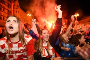 Croatia's supporters celebrate in Zagreb as they score against England.