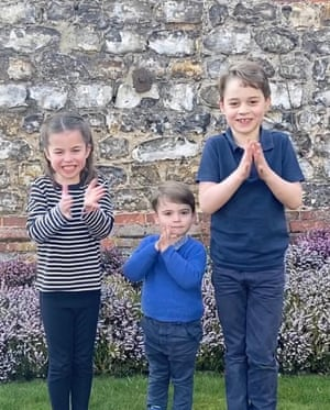 PrinceGeorge, Prince Louis and Princess Charlotte joining in a national applause for the NHS