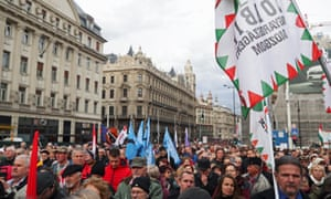 A protest against Hungary's government in Budapest on 15 March 2019.