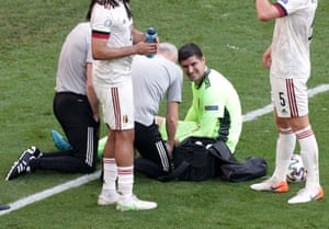 Courtois receives medical attention after sustaining an injury.