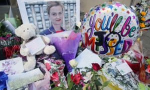 Flowers left in tribute to murdered MP Jo Cox.