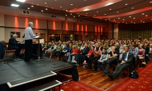 Jeremy Corbyn speaking to a packed venue in Luton.