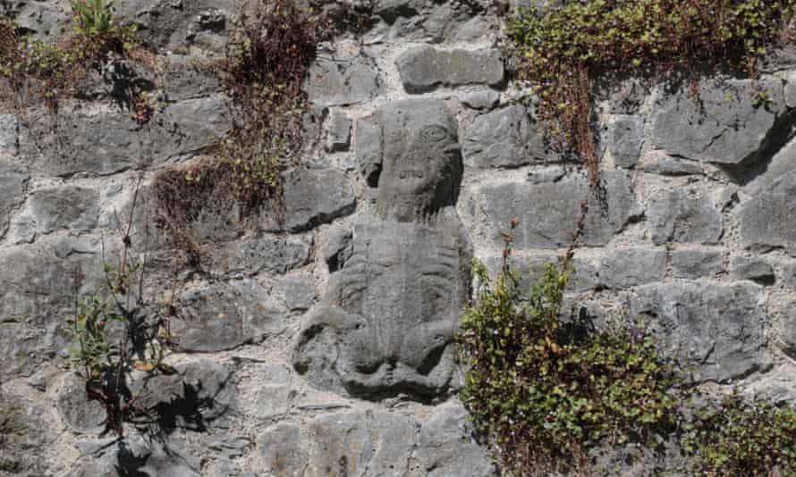 A sheela na gig carving at the Watergate in Fethard, Co Tipperary