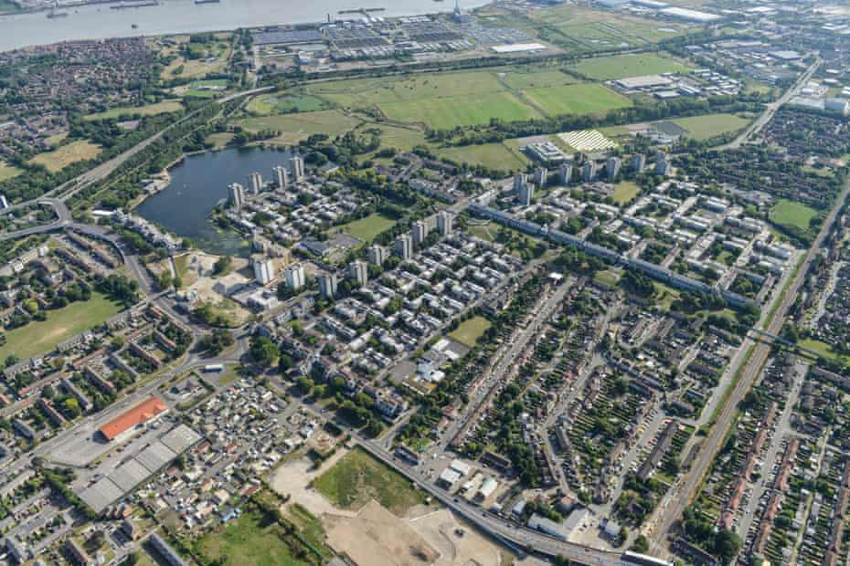 An aerial view of the area, which lies south of the  Thames.