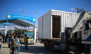 A prefabricated structure is transported after the handover ceremony of border crossings at Erez, Gaza, on Wednesday.