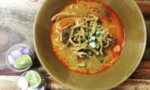 Bowl of khao soy at Khao Soy Silom 3, Bangkok, Thailand.