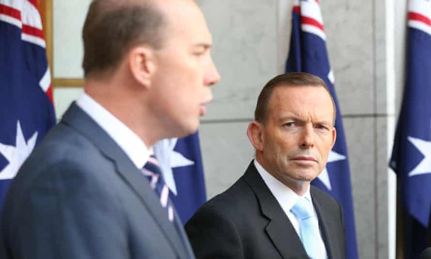 Tony Abbott and Peter Dutton at a press conference outside parliament in Canberra in June.