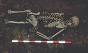 The skeleton was found buried face down