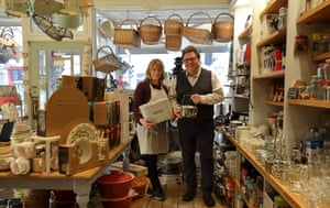 Frankie and Johnny Hayes in their kitchenware shop.
