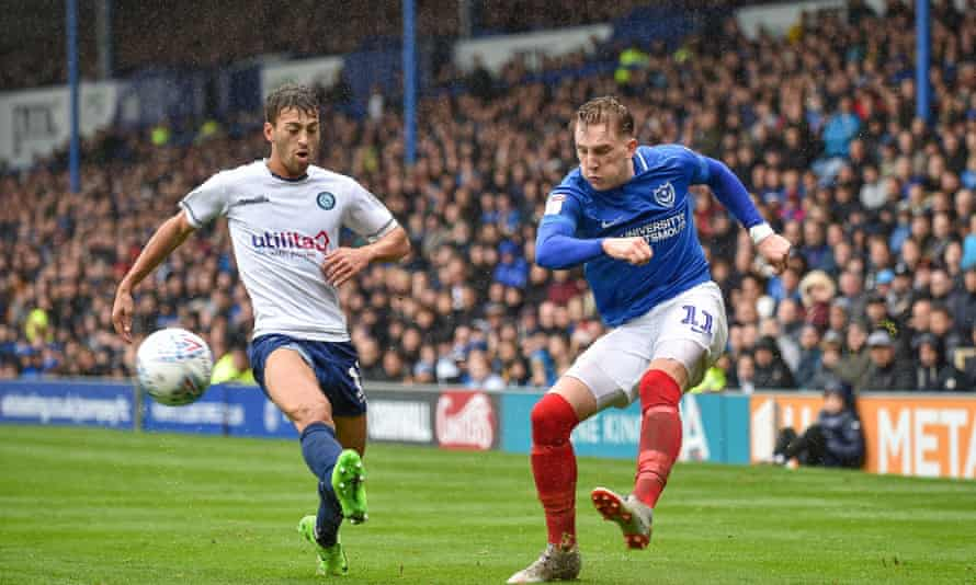 Ronan Curtis, right, who has earned a call-up to the Northern Ireland squad on the back of his consistently excellent displays for Portsmouth this season.