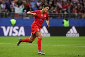 Carli Lloyd of the US celebrates after scoring her team's thirteenth goal.
