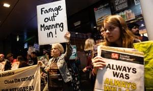 Protesters outside an event involving Nigel Farage in Perth, Australia
