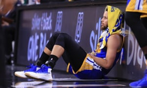 Stephen Curry takes a break during the Western Conference finals