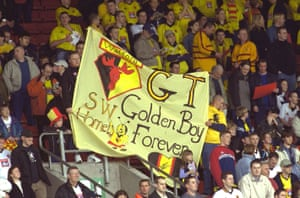 Watford fans say goodbye to their manager Graham Taylor after he retired in April 2001.