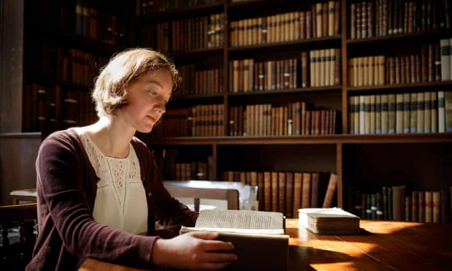 Nikki Tomkins, one of the conservators working on the library of 19th century philosopher John Stuart Mill, held at Somerville College, Oxford.