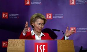 Ursula von der Leyen giving her speech at the LSE.