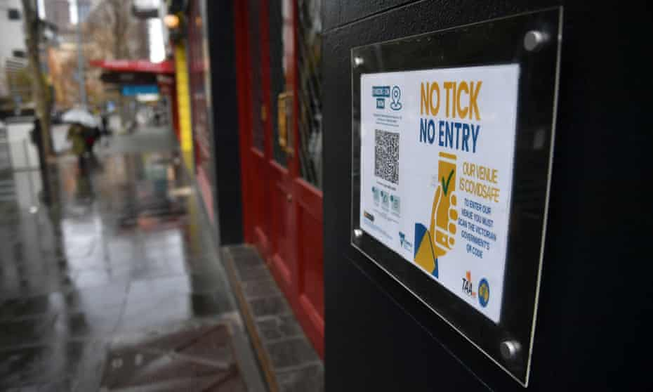 A QR code is seen on the exterior of a restaurant in Melbourne