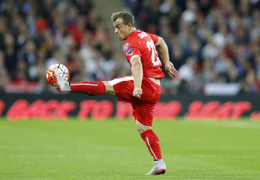 Switzerland''s Xherdan Shaqiri controls the ball.