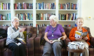 Nora, Jill and Barbara at their reading group at Mayflower Court residential care home.