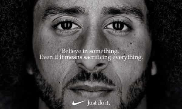 Nike's 2018 ad campaign starred American football player Colin Kaepernick and embraced civil rights, Black Lives Matter and activism.