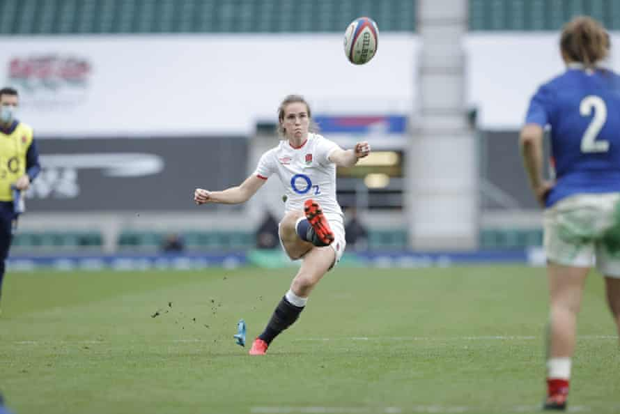 The brilliant Emily Scarratt kicks a penalty in the last minute as England beat France in November.