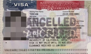 F-1 visa belonging to an Iranian student accepted to study in California cancelled at the US embassy in Yerevan.