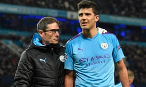 Rodri is led off the pitch by a Manchester City physio after suffering a hamstring injury against Atalanta.