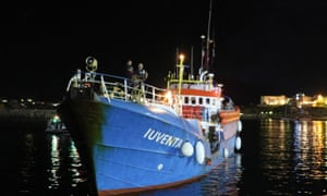 The Iuventa, operated by a German NGO, is impounded at Lampedusa harbour as part of the enforcement of a controversial code of conduct.