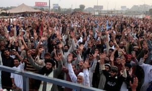 Members of the Tehreek-e Labaik Pakistan party shout slogans during the sit-in.