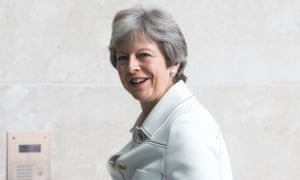 Theresa May arriving at the BBC to appear on The Andrew Marr show on Sunday.