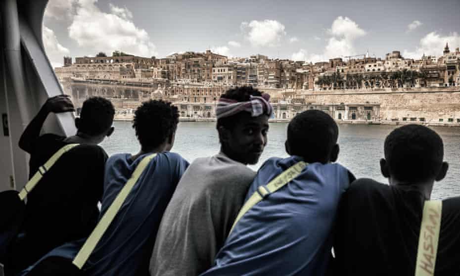 Migrants onboard the Aquarius