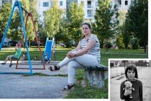Rina Trifkovic in her local neighbourhood in June 2018. Inset: Rina aged eight in the Bjelave orphanage playground. Now an accountant, on her days off she visits the orphanage and arranges excursions for the children.