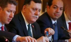 Fayez al-Sarraj at the meeting in London