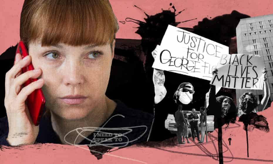 illustration: white woman on phone superimposed next to Black Lives Matter protesters