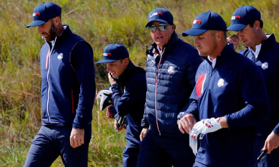 The United States team in a practice round at Whistling Straits this week, featuring Bryson DeChambeau (second from right) and vice-captain Phil Mickelson (center).