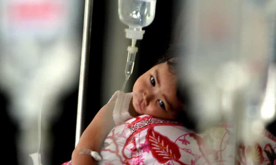 A child on a drip