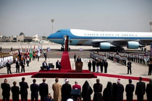 Barack Obama speaks after touching down in Tel Aviv – his first visit to Israel, 20 March 2013.