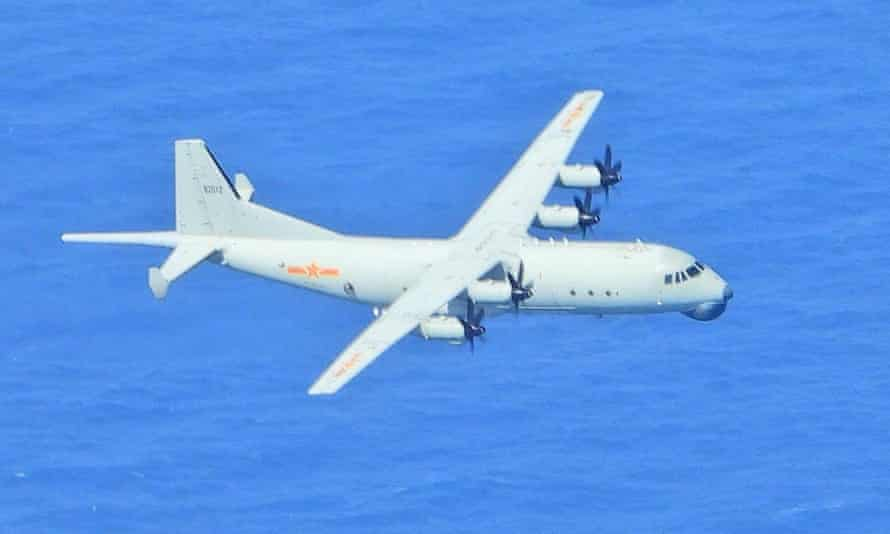 A image from Taiwan's defence ministry shows a Chinese anti-submarine aircraft entering Taiwanese air space in September.