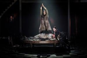 Bryan Register (Sigmund), Claire Rutter (Sieglinde) and Jane Dutton (Brünnhilde) in Die Walküre at Grange Park Opera.
