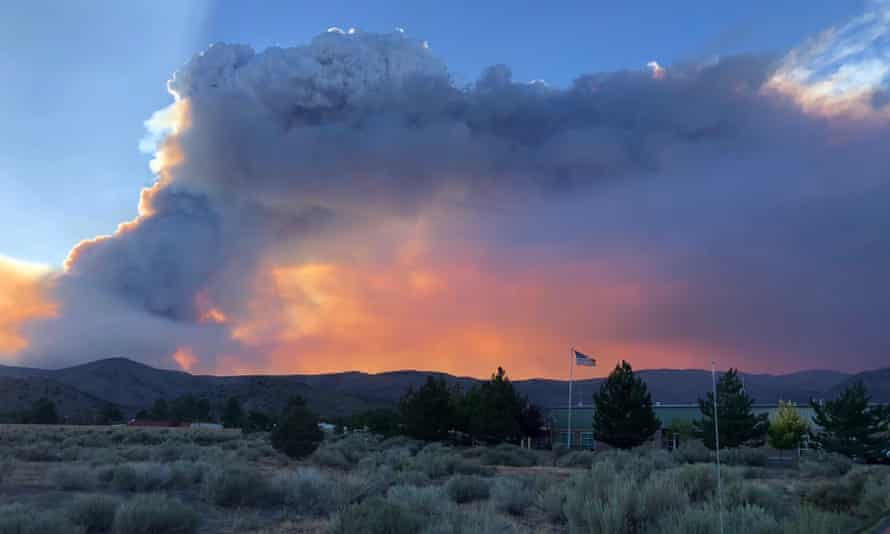 The east side of the Tamarack fire, which has crossed the California state line into Nevada.