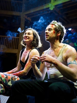 Pippa Nixon as the Bastard and Alex Waldmann as King John in Maria Aberg's production of King John at the RSC in 2012.