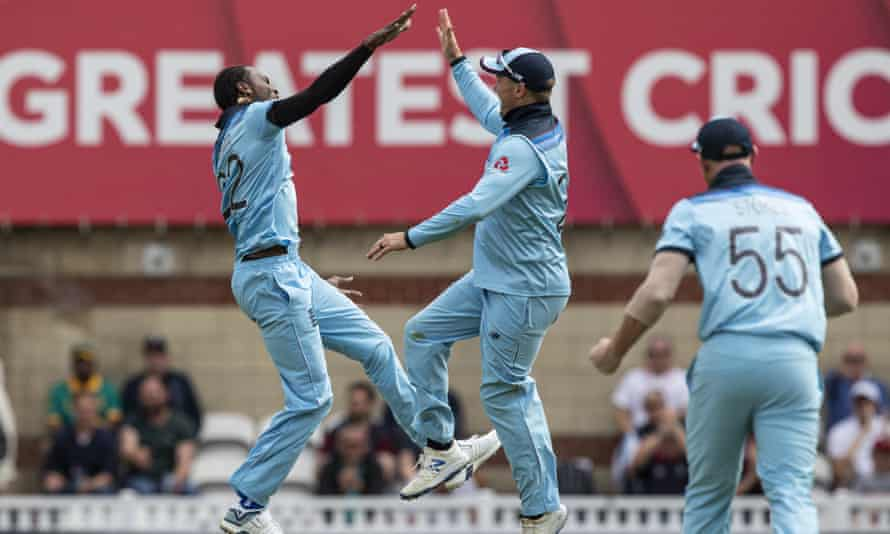 Jofra Archer (left) and Jason Roy are delighted with the dismissal of Aiden Markram.