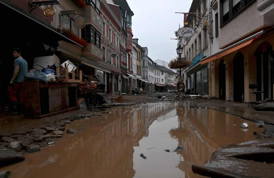 A flooded street in the town of Ahrweiler-Bad Neuenahr, western Germany, on Thursday.
