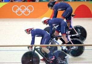 Great Britain's team pull away at the start.