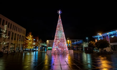 Christmas lights in and around Albert Dock in Liverpool.