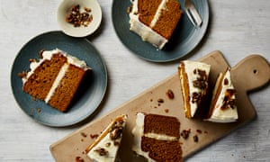 Roast pumpkin, olive oil and nutmeg cake with fresh ginger icing